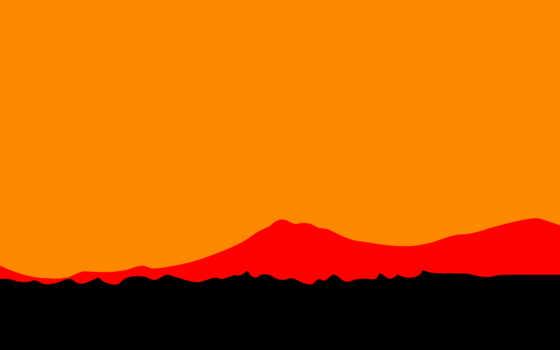 минимализм, закат, небо