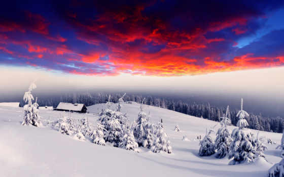 winter, лес, снег, сопки, домики, елки, деревушка, свечение, lodge,