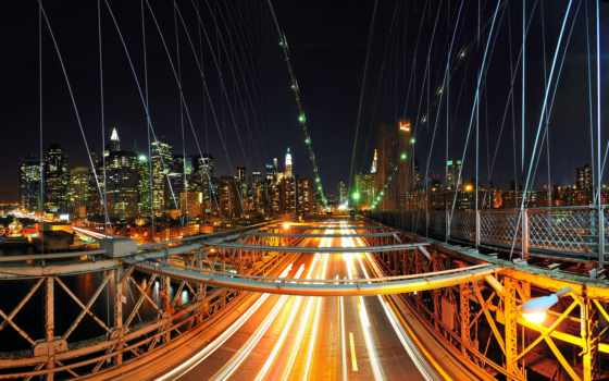 мост, нью, бруклин, сша, огни, york, город, ночь, йорке, new,