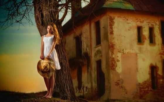 девушка, старый, house, босая, платье, дерево, шляпа, white, раздолье, дорога,