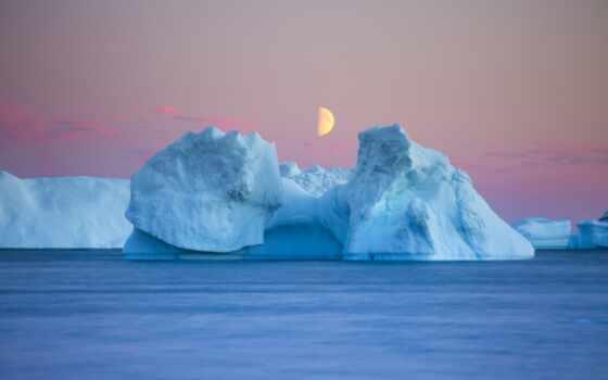 aisberg, сумерки, iceberg, море, луна, even, dusk, лед, more, большой, сумерки