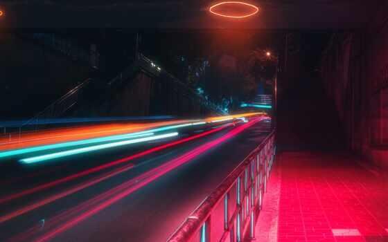 neon, огни, motion, улица, long, exposure