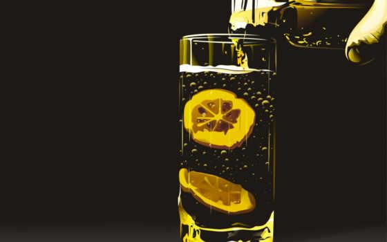 tea, glass, lemon, lemonade, graphics,