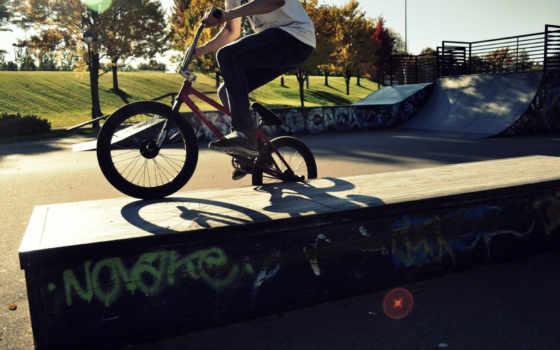 bmx, спорт, bike, park, skateboard, trick, парень,