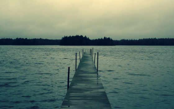 мост, pier, море, landscape, горизонт, природа, закат, река, небо, лес,