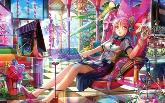 anime, девушка, headphones, кресло, комната, яркие, pisces, подборка, her, волосы,