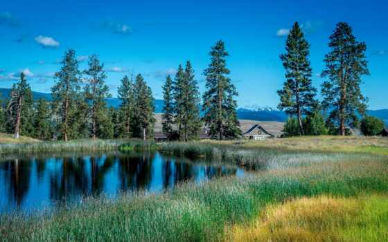 озеро, пруд, облако, house, дерево, гора, comfort, blue, fore, берег, summer