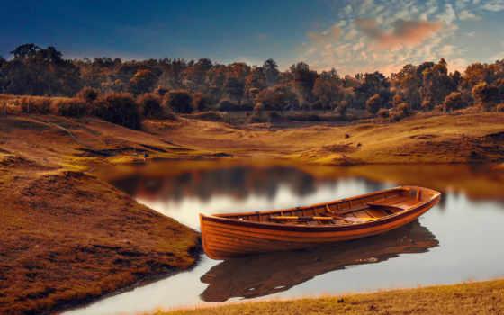 лодка, озеро, wooden, природа, осень,