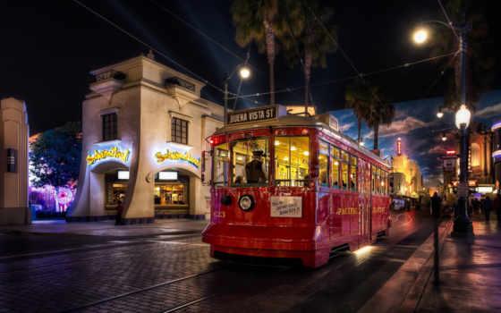 трамвай, red, коллекция, лучшая, ночному, городу, едет, техника,