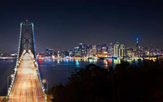 san, francisco, город, мост, ночь,