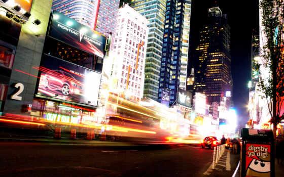 нью, york, ночь, улица, manhattan, рекламы,