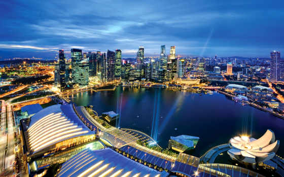 singapore, марина, bay, sands, огни, города, город, здания,