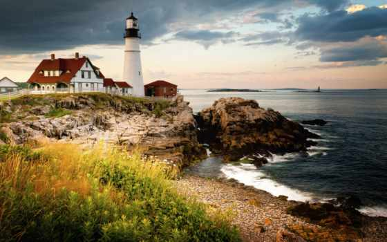 голова, portland, свет, мэн, lighthouse, cape, elizabeth, побережье, bay,