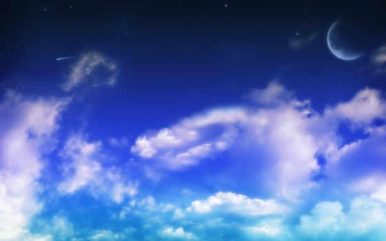 небо, природа, oblaka, heaven, взгляд, clouds, full, луна,