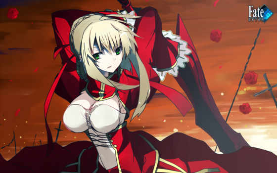 ұүұң, fate, hair, dress, blonde, submitted, stay, night, saber, green, extra, tags, eyes,