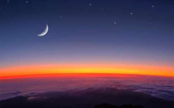 звезды, луна, облака