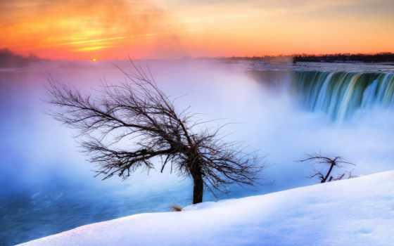 priroda, водопад, снег