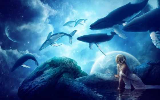 небе, киты, china, фантастические, fantasy, нас, possible, изображены, которых, фантастика,