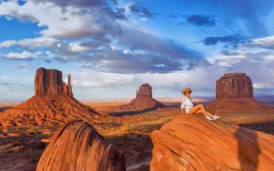 долина, девушка, горы, smiling, landscape, women, разное, торрент, arizona, пустыня,