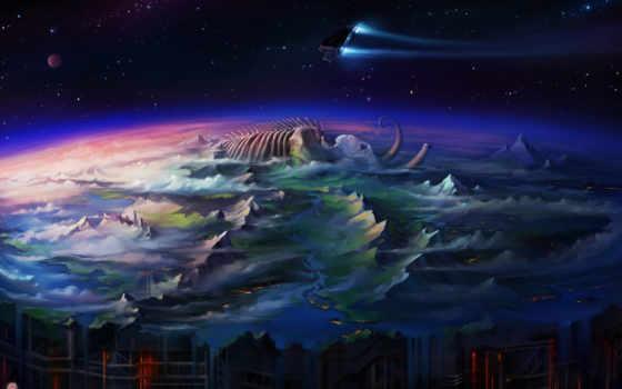 art, плоский, world, concept, самые, haryarti, abyss, more, google, fantasy,