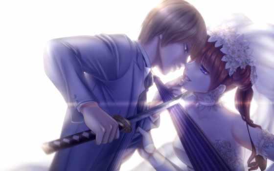 gintama, парень, девушка, меч, anime, катана, okita, sougo, зонтик, kagura, art,