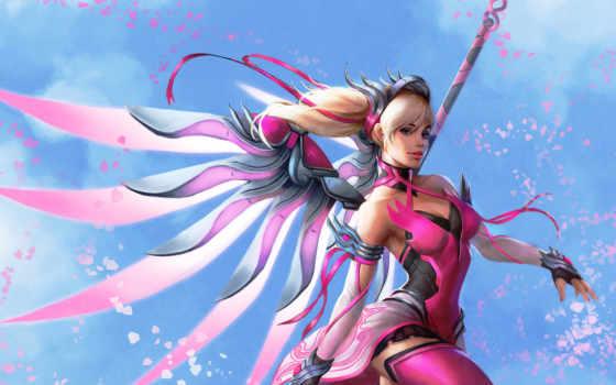 mercy, overwatch, розовый, art, skin, blizzard,