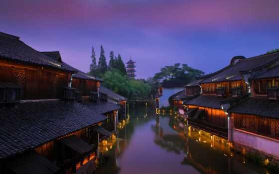 город, рассвет, утро, китаянка, town, china, огни, house, home, water