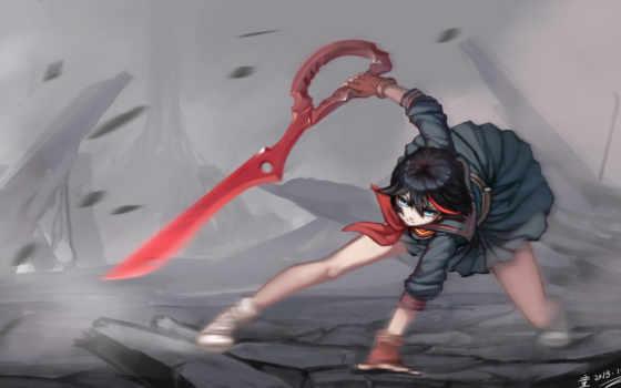 kill, matoi, битвы, anime, девушки, мечи, ryuko,