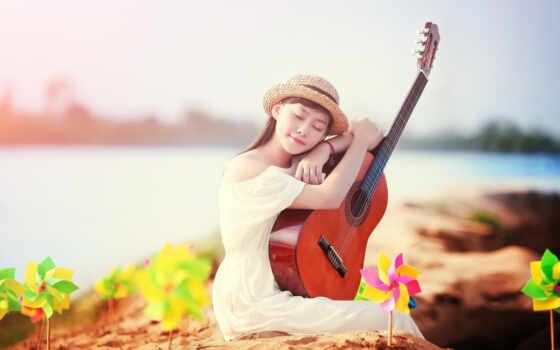гитара, девушка, музыка Фон № 79658 разрешение 1920x1200