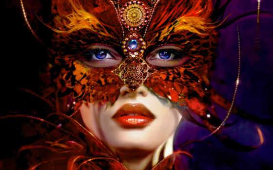 маска, девушка, взгляд