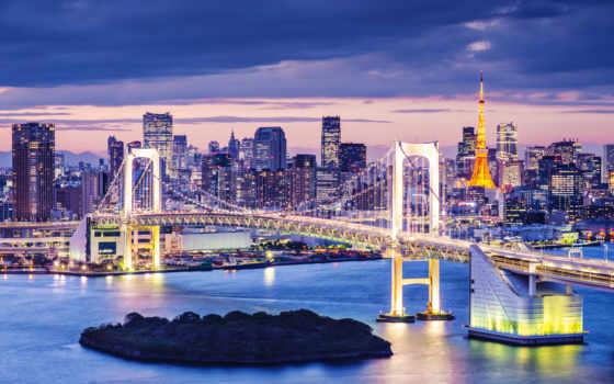 tokio, ночь, япония, широкие, фотошторы, tokyo, мост, cityscape, огни, город,