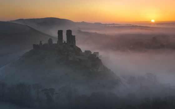 castle, mist, развалины, старинный, восход, corfe, nevseoboi, sunrose,