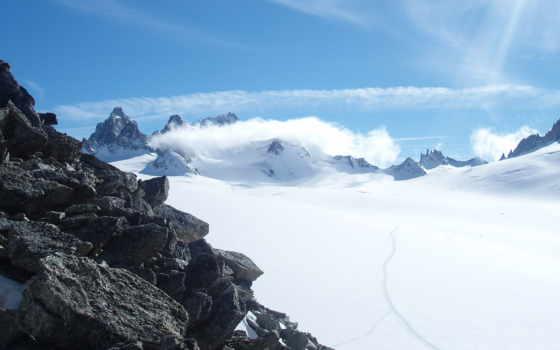 avalanche, снег, mountains, небо, sun, скалы, mac,
