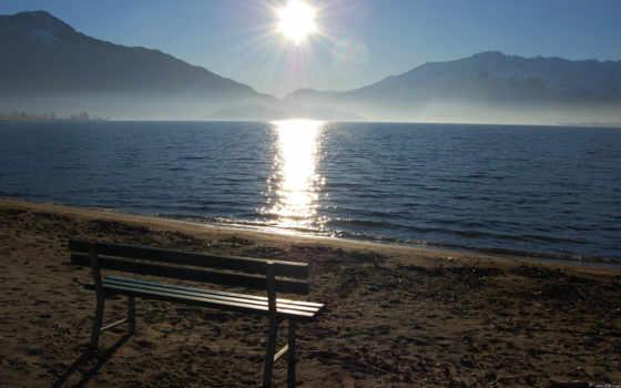 море, скамейка, утро, разное,