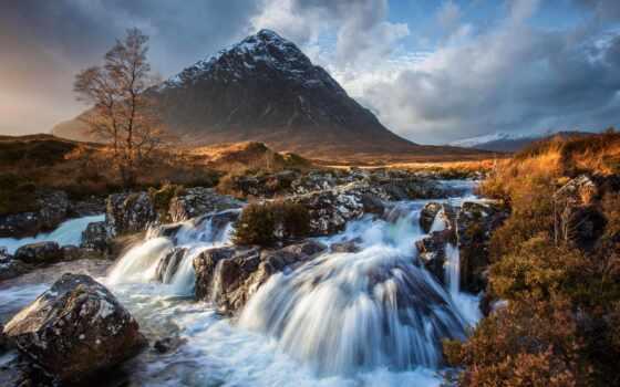 гора, mount, озеро, scenery, scotia, природа, облако, фото, коллекция, card