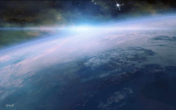 арт, космос, планета, атмосфера, qauz,