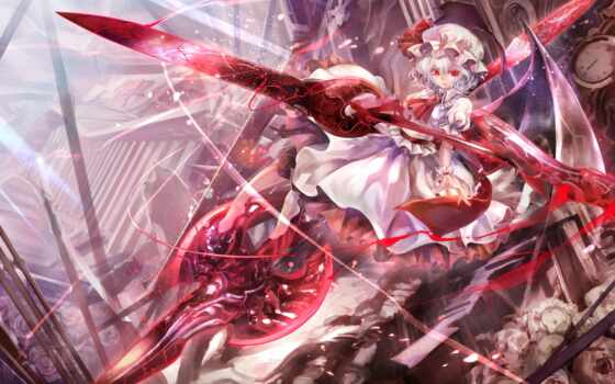 remilia, scarlet, touhou, hair, dress, eyes, red, weapon, short, wings, highres, white, spear, with, afraco, gungnir, hat, girl, share, barefoot,