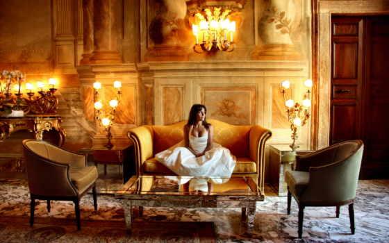 девушка, замок, брюнетка, платье, свадебное, диван, мире,