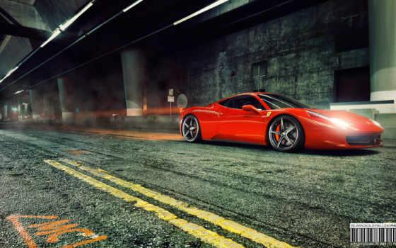 ferrari, italia, ночь, туннель, авто, машины, fonds, дорога, ecran,