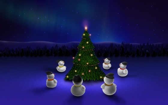 новогодние, год, елка