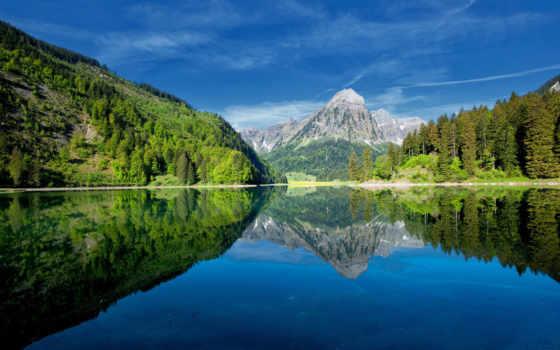 озеро, горы, небо, лес, trees, склон, природа,