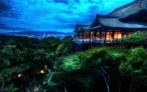 house, лес, kyoto, япония, houses, landscapes, dark,
