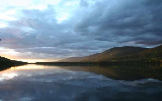 озеро, вечером, горное, спокойное, вечер, закат, небо, water, горы,