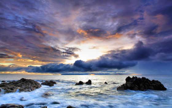 море, небо, скалы, water, камни, article, буря, закат, oblaka, фоны,