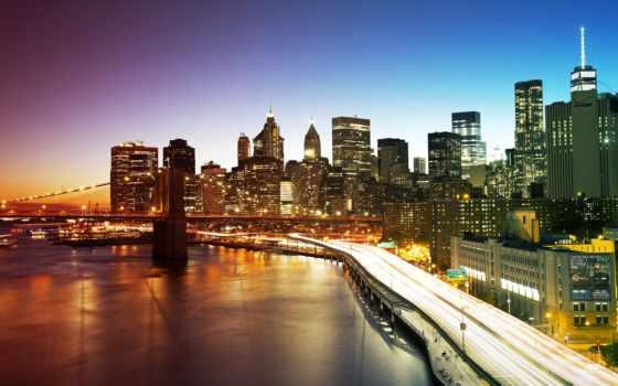york, нью,, мост, new, сша, ночь,