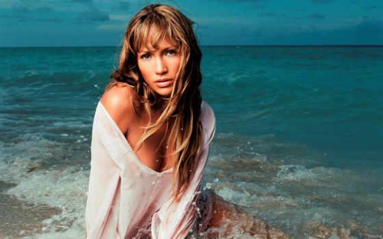 пляже, море, фотографий, sun, lopez, красивые, позирования, jennifer,