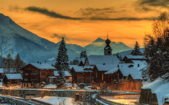 winter, swiss, house, гора, вечер, закат, снег