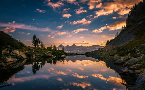 озеро, австрия, альпы, гора, отражение, утро, зеркало, austrian