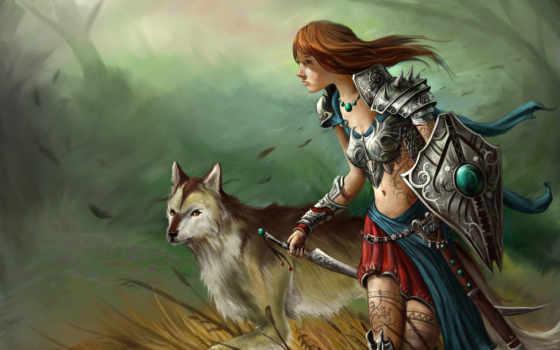 волк, девушка, арт, меч, ветер, узоры, фэнтези, трава, щит, тату, фантастика, амазонка, воительница, поле,