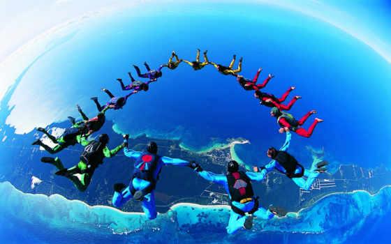 спорт, парашютный, землёй, над, фигура, высота, небе, люди,